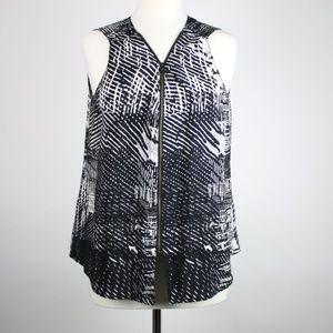 AMANDA UPRICHARD Silk Front Zip Blouse MEDIUM